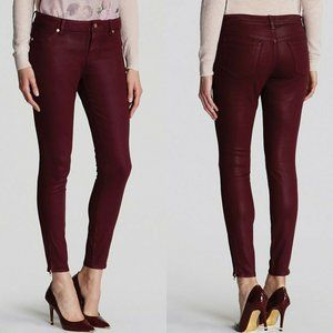 Ted Baker Anna Wax Finish Skinny Jeans Oxblood